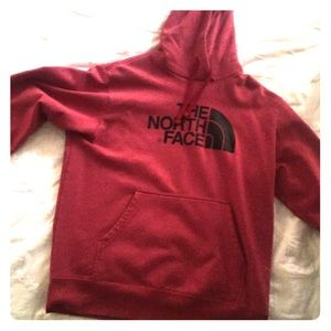RED NORTH FACE HOODIE LARGE